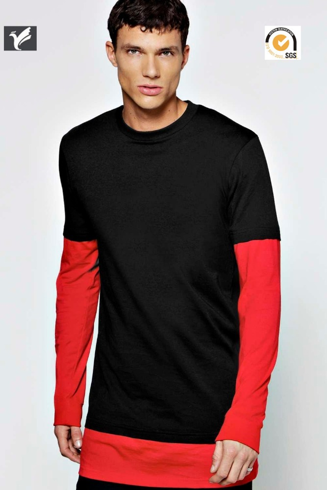 black and red color combition long sleeves t shirt men's t shirt