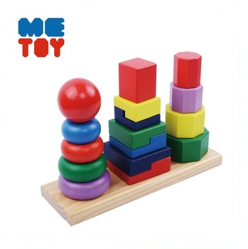 Geometric stacker montessori wooden toys Wooden materiales montessori 3 in 1 Shape Sorter Stacker cylinder blocks montessori