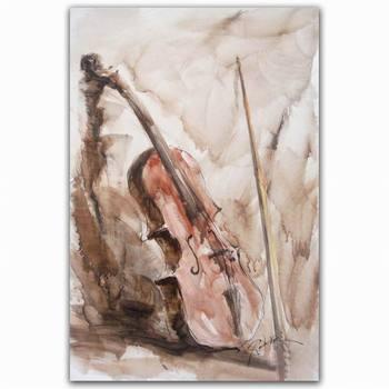 100% Hand Painting Beautiful Musical Instrument Violin Wall Art ...