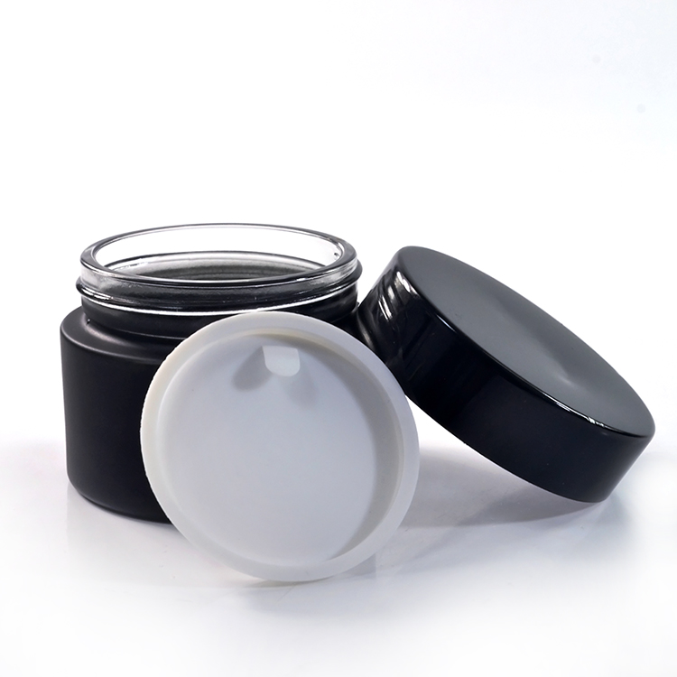 Custom glass container 15g 30g 50g plastic lid matt black cosmetic jar for skin cream