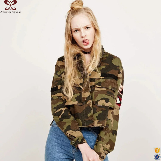 Army Green Camouflage Women Jacket Autumn New Design Causual Jacket for Distinctive Girls