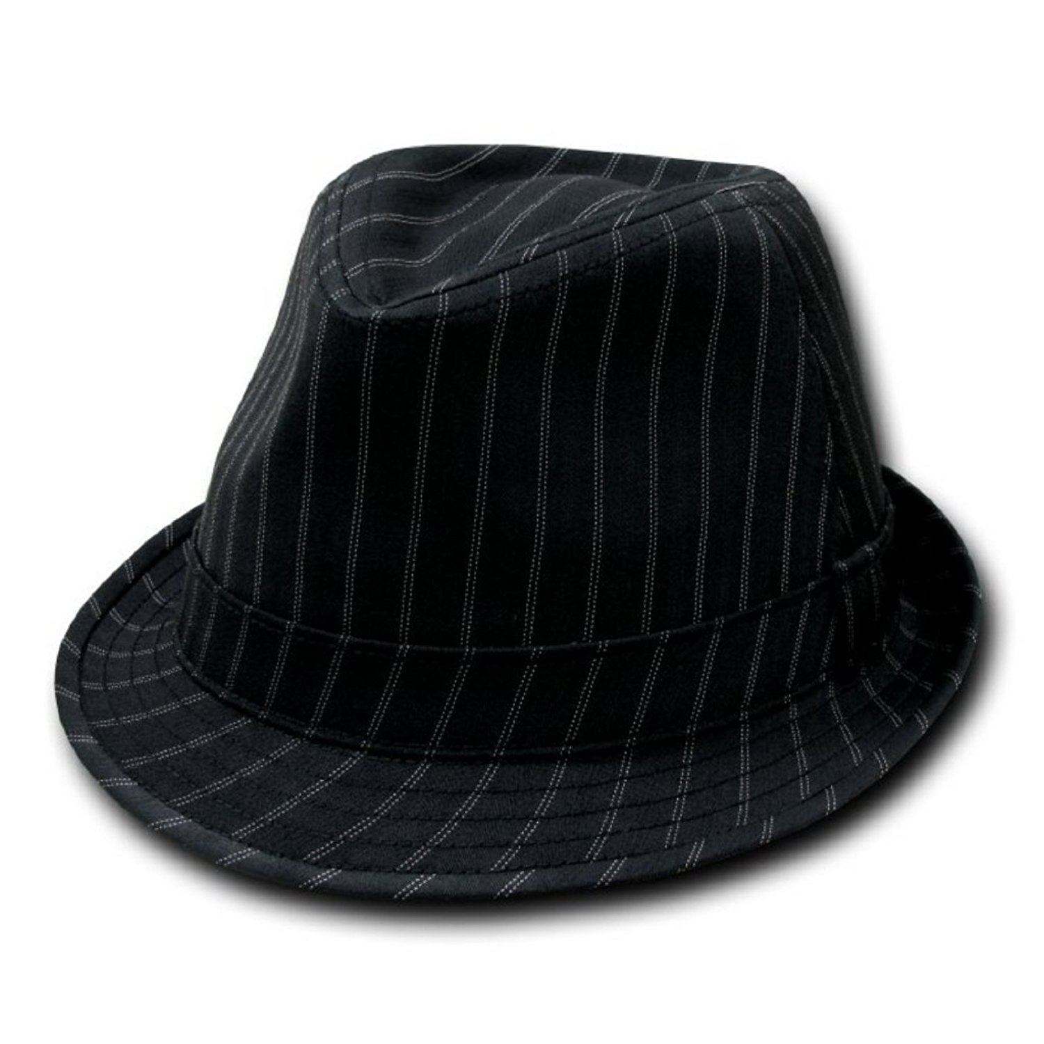 351b05a0fad5d Get Quotations · Decky Double Pinstripe Fashion Fedora Hat Black  (Small Medium)
