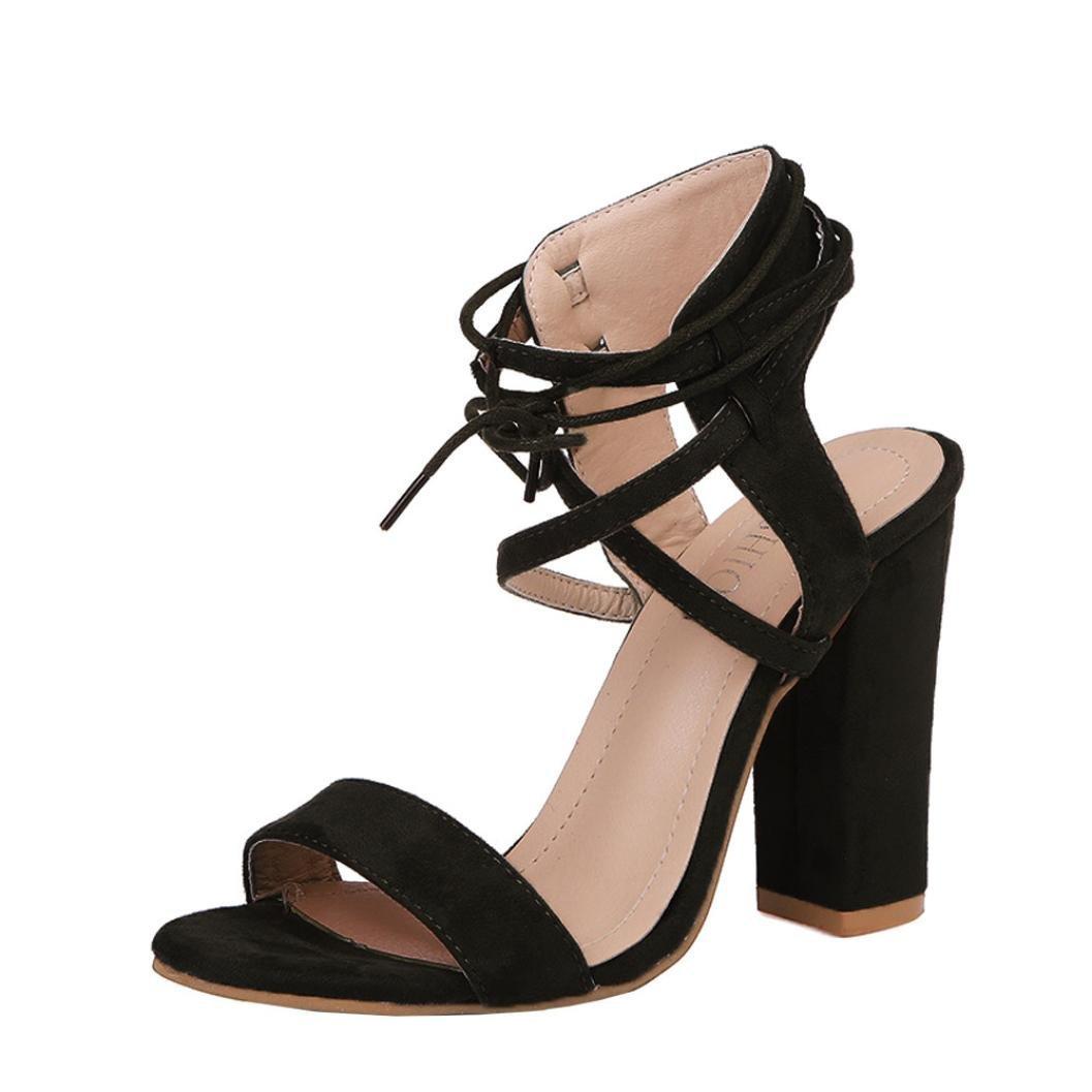 e8d1ac4c59dcec Get Quotations · Womens Block High Heel Sandals Casual Open Toe Ankle  Buckle Cross Strap Platform Pump Black Round