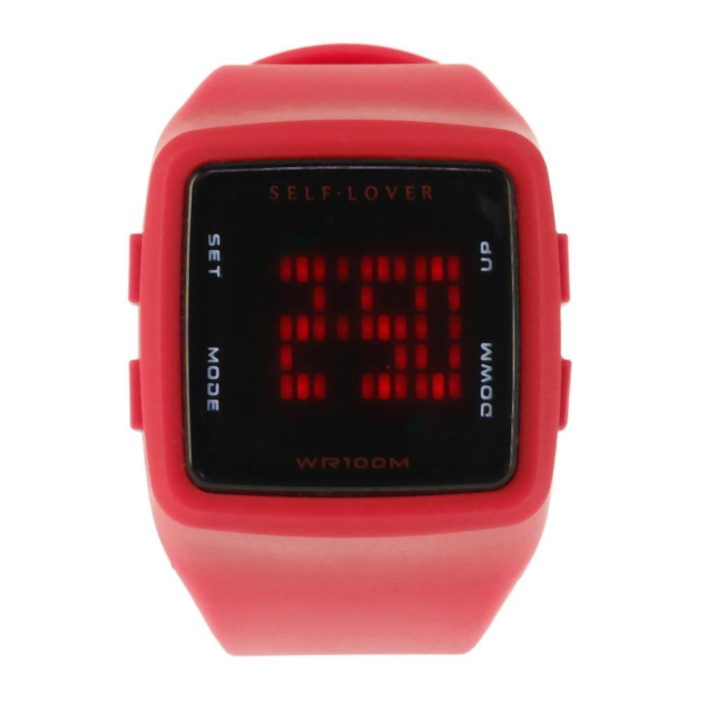 UNIhappy Children Electronic LED Watch Silicone Sports Digital Wristwatch(Red)
