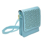 Hollow Out Flower Messenger Bag For Women Leather Crossbody Flap Bag Lady Fashion Single Shoulder Bag Double Layer Blue Color