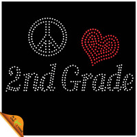 Peace Love 2nd Grade Wholesale Iron On Rhinestone Transfers