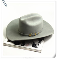 Woman light-color 100% wool felt Cowboy Hat with leather band