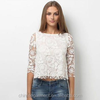 4edb655dc38a18 Top006 Womens White Three-quarter Sleeve Tops Lace Crochet Blouses ...