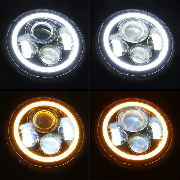 "Wholesale price super bright Halo Ring Angel Eyes DRL LED Headlights For Jeep Wrangler JK TJ LJ 7"" Inch Round 80W 7200 Lumens"