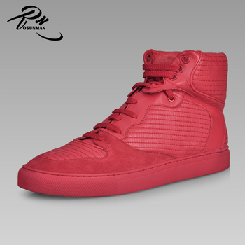 Whole Red Color Fashion Sneakers Ankle