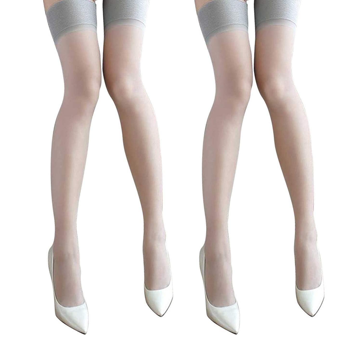 cf939e579 Get Quotations · Women s Glossy Hold Ups Stockings Thigh Highs Wide Border