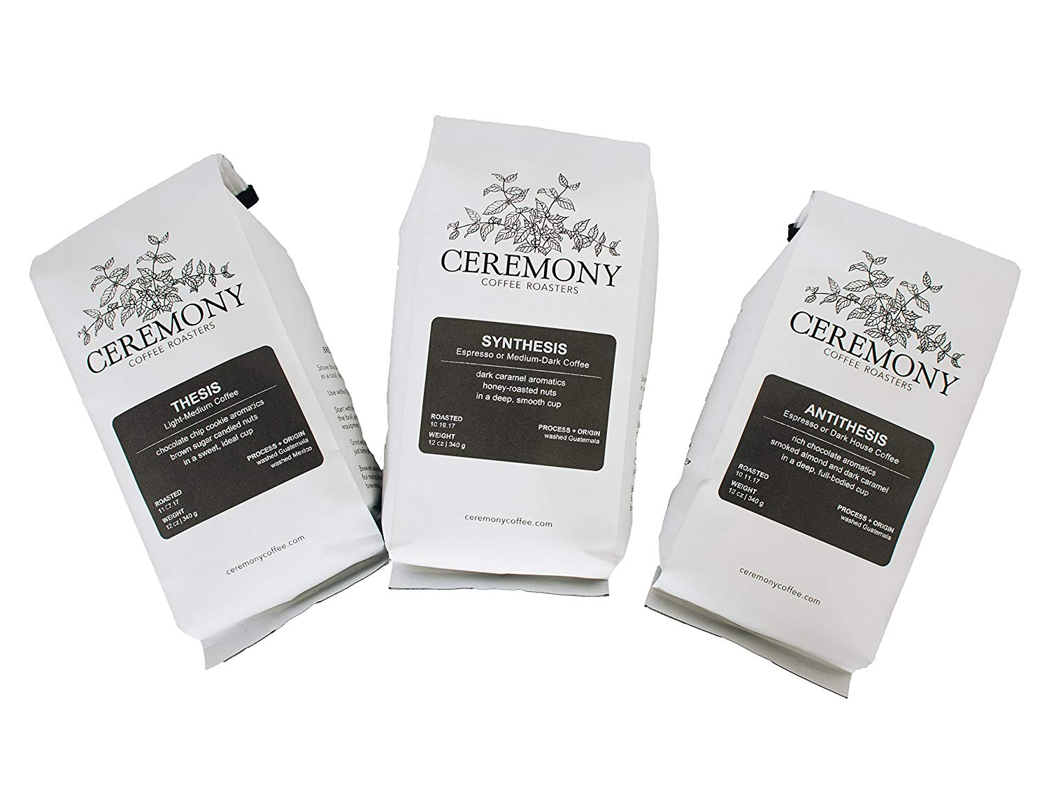 Ceremony Coffee Roasters - House Coffees Roast Variety Pack - Specialty Whole Bean or Ground Coffee- 3 x 12oz bags (Whole Bean)