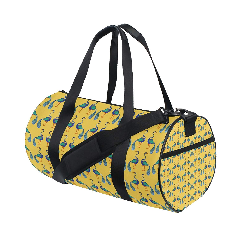 AHOMY Sports Gym Bag Blue Peacock Feather Duffel Bag Travel Shoulder Bag