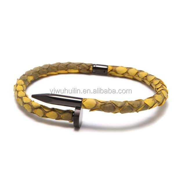 SS005 Huilin Jewelry Real Stingray Python Leather Nail Bracelet with Black Python Men's Stainless Steel Nail Bracelet