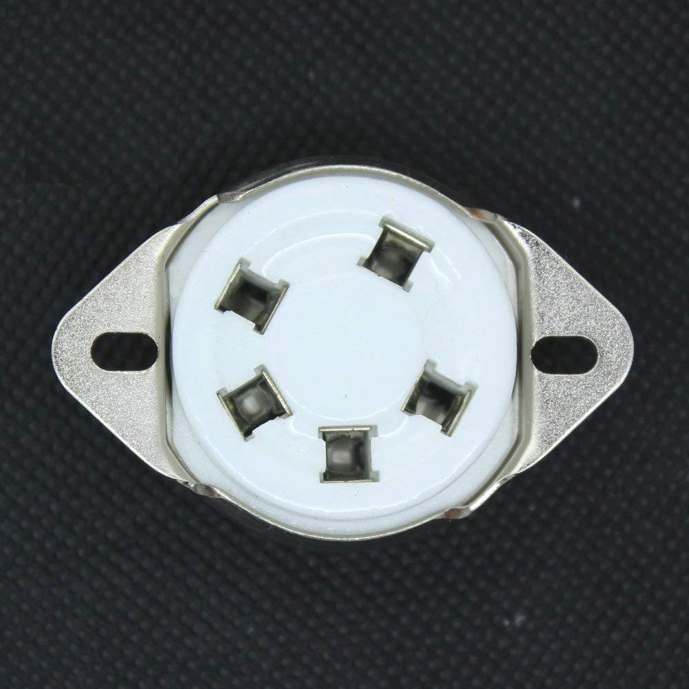 10PCS 5Pin Ceramic Tube Socket for 807 Valve 5-21 US Style Base Audio AMP DIY