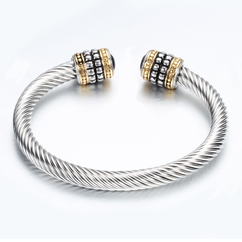 New stainless steel women's jewelry twisted cable cuff bracelet