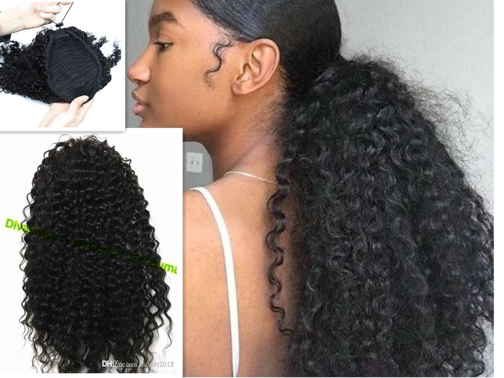 3c Afro Kinky Curly Drawstring Ponytail Hairpiece 100 Human Hair