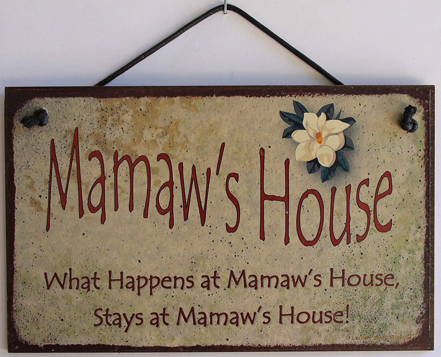 "5x8 Vintage Style Sign with Magnolia Saying, ""Mamaw's House What Happens at Mamaw's House, Stays at Mamaw's House!"" Decorative Fun Universal Household Signs from Egbert's Treasures"