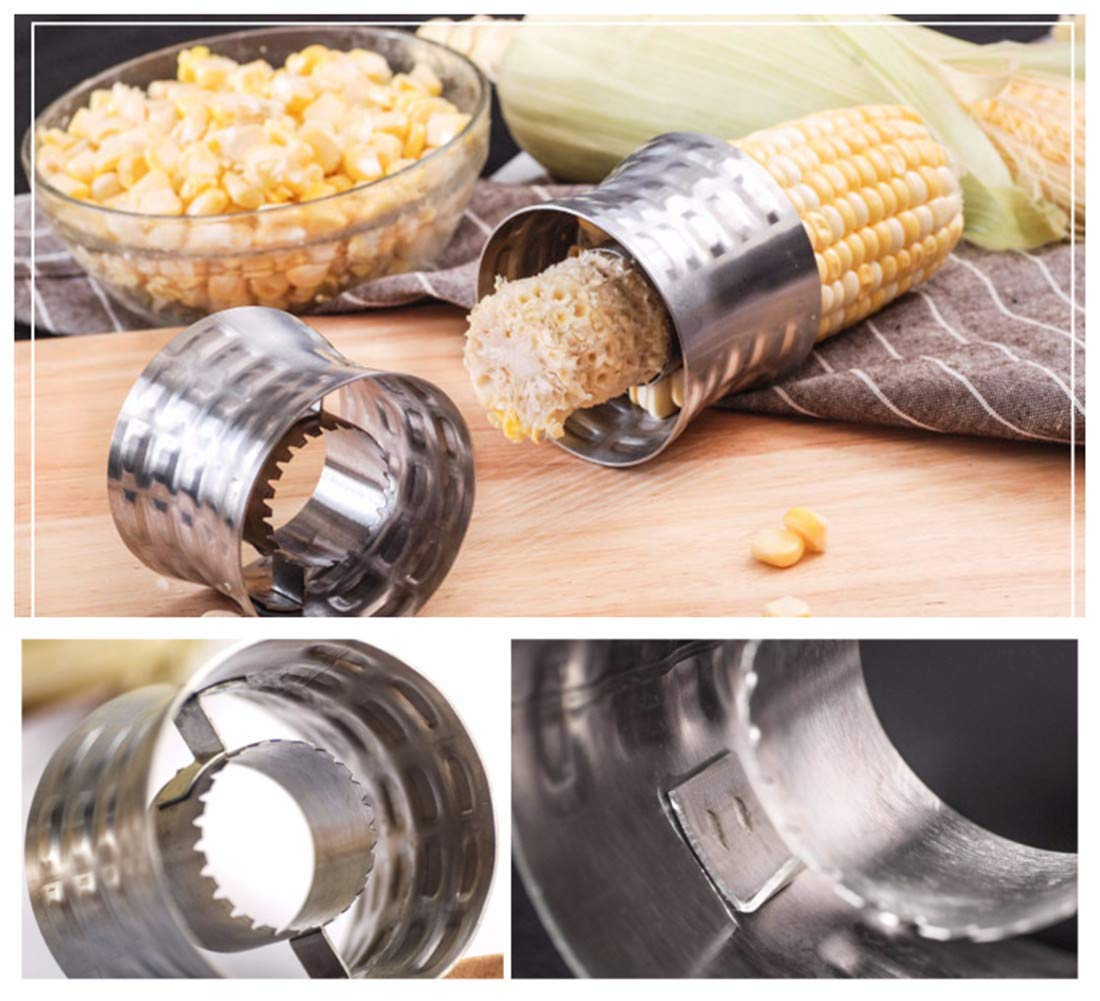 Corn Cutter Peeler Corn Cob Peeler,Striper,Removal,Slicer Stainless Steel Corn Stripping Tool with Non-Slip Grip