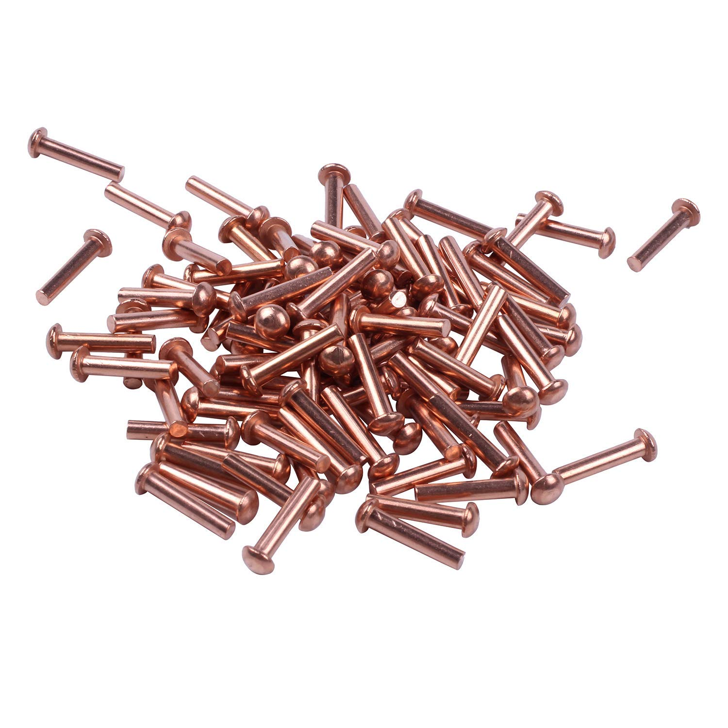 TOOGOO(R) 100 Pcs 3/32x15/32 inch Round Head Copper Solid Rivets Fasteners Rose gold
