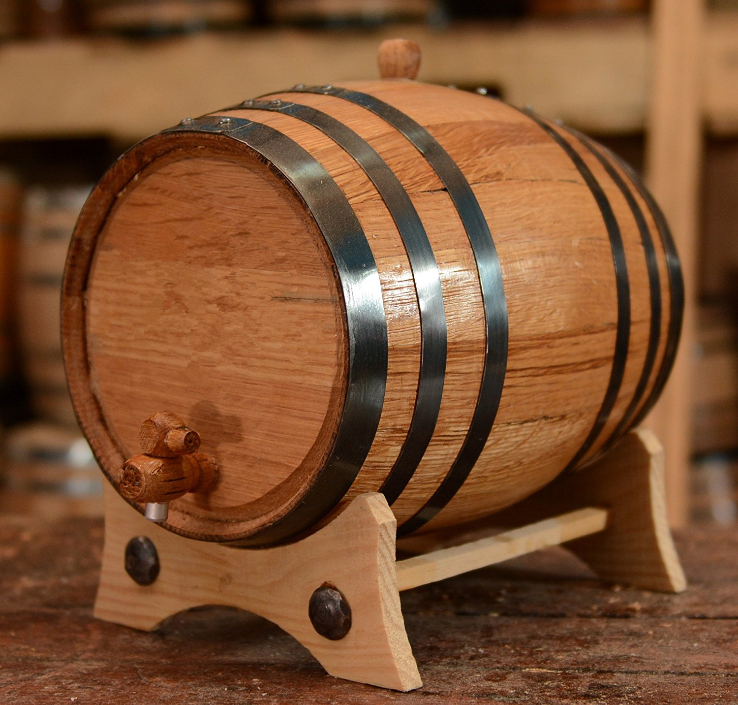 Personalized Customized Black Hoops Wooden Wine Barrel For Sale