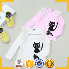cartoon cat print children long sleeve lovely kids brand t shirt