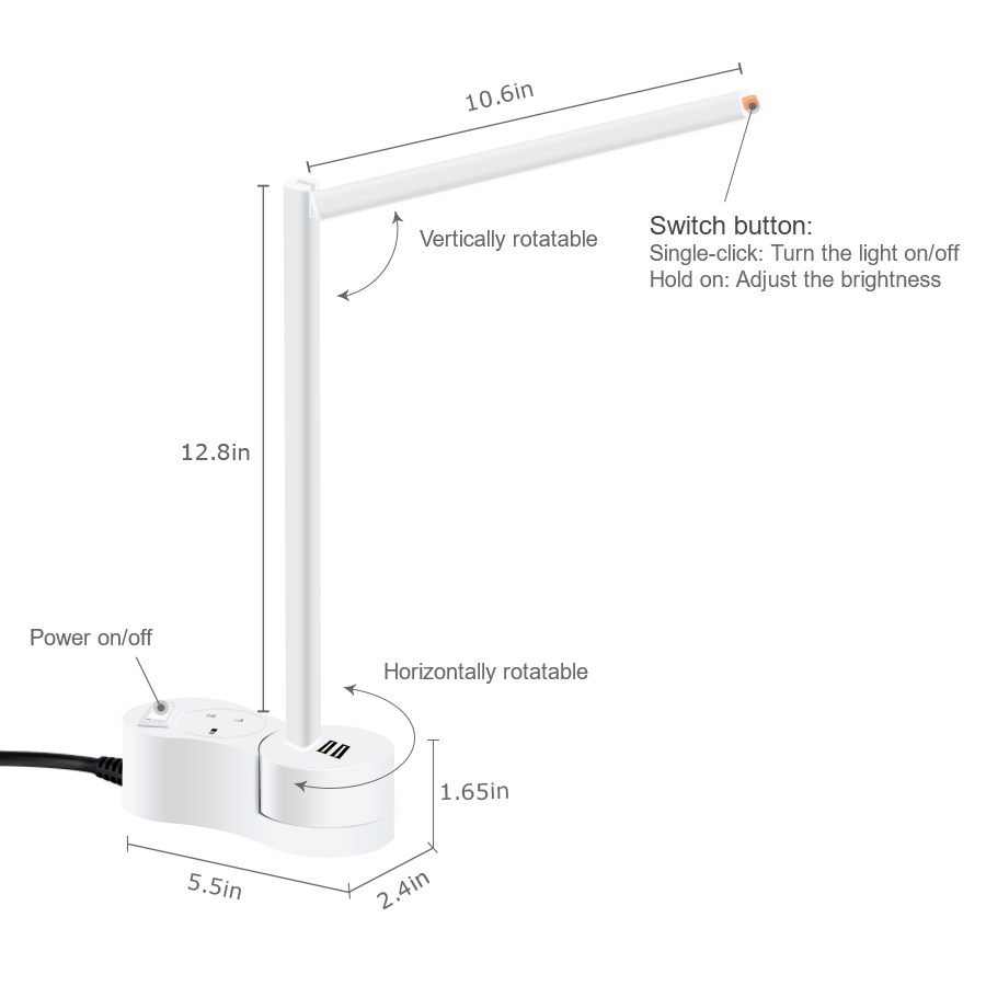 EA200 LED desk lamps Dimmable and Rotatable LED Desk , with Flexible Extension Socket & USB socket, hot sale in  Amazon