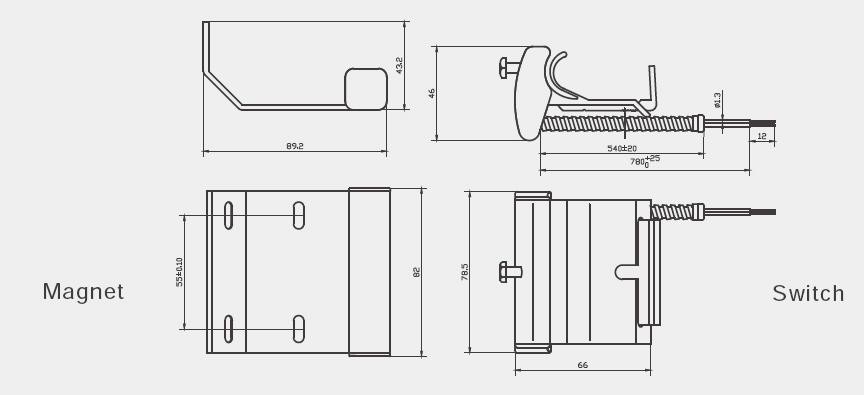 Overhead Mount Magnetic Contact/ Garage Door Alarm Sensor BSD-3016