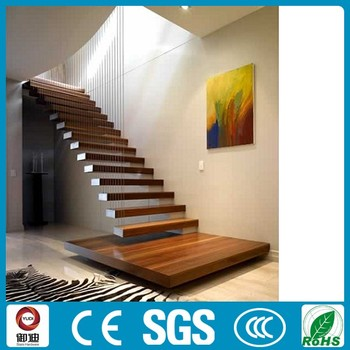 Indoor Wood Tread Open Staircase Floating Design