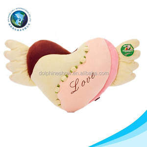 Valentine gift custom plush pillow heart shaped with angel wings cushion pillow
