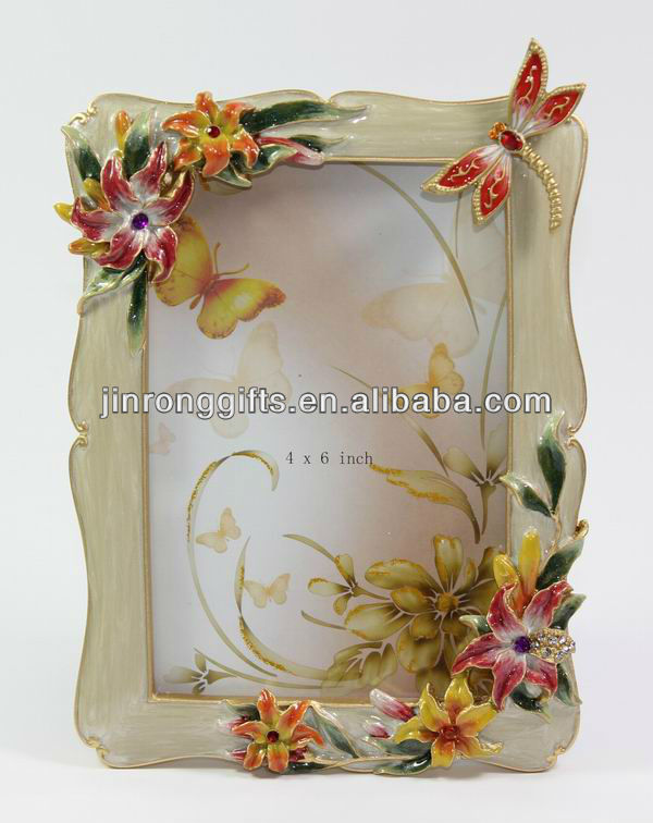 gem gold lily picture Frame 4x6 with dragonfly