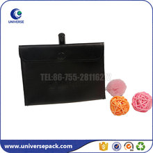 black pu leather button pouch with embossing