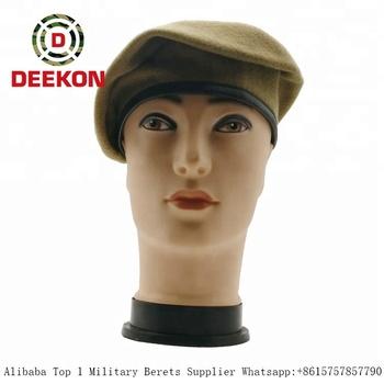 Wholesale Kaki Wool Military Beret Cap For Men Police Cap - Buy ... 791825a98d3