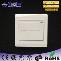 Good Europe type white panel one gang two way CE certification 13A electric wall switch with fluorescent indicator