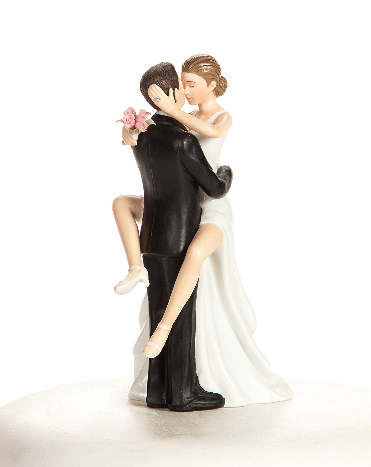 Wedding Collectibles Personalized Funny Sexy Wedding Bride and Groom Cake Topper Figurine: Bride Hair: BROWN - Groom Hair: BROWN