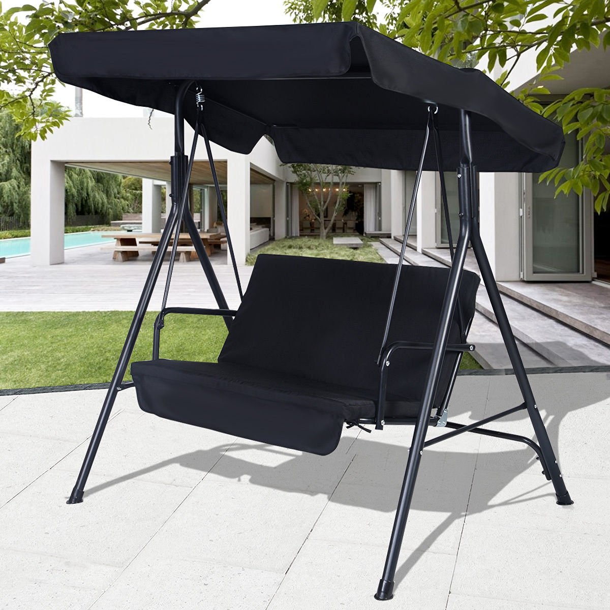 Get Quotations · Swings Black Outdoor Patio Swing Canopy Awning Yard  Furniture Hammock Steel 2 Person
