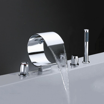 Deck mounted Waterfall Brass Chrome Plated Bath Bathtub Faucet Tap