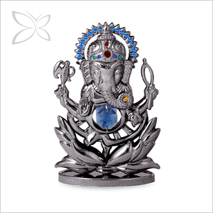 Hot Sale Standard Gunmetal Plated Metal Crystal Ganesha