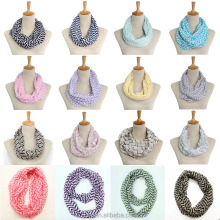 Hot Selling Wholesale Chevron Print Voile Infinity Shawl Fashion Scarf in Stock