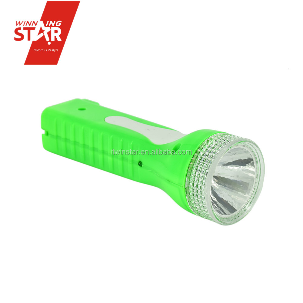 1+1 Rechargeable LED Torches with Transparent Head in Yellow Green