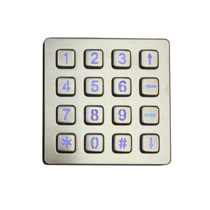 illuminated IP65 waterproof rugged metal kiosk keypad