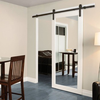 Custom Made White Wooden Mirrored Barn Door From Guangzhou Factory