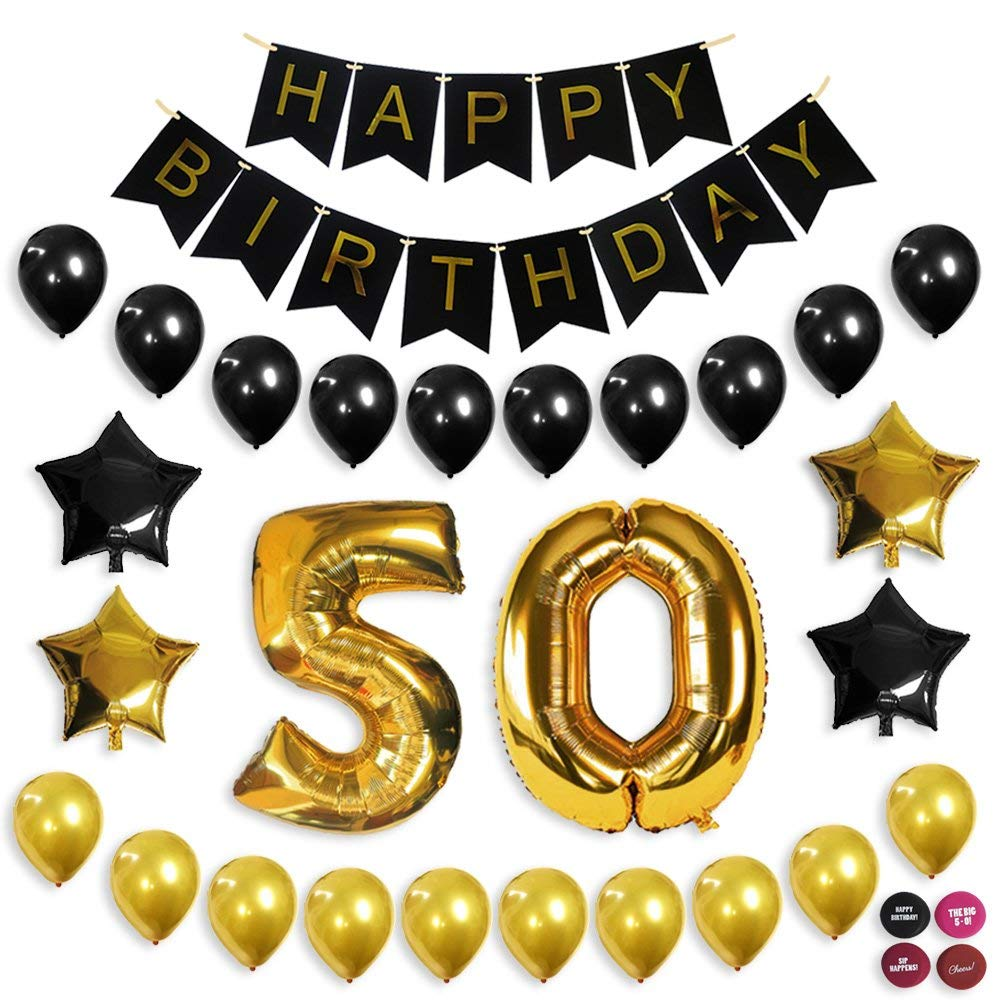 Get Quotations 50th Birthday Decorations Balloon Banner Party Supplies Office Black And