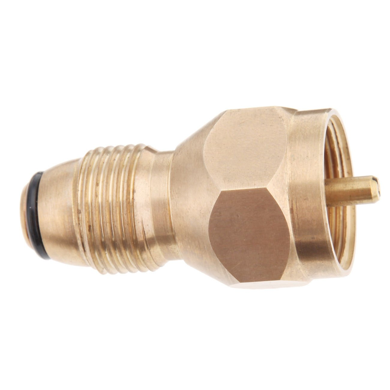 Ridgeyard Brass Cook Steak Saver Gas Grill Valves Adapter, 1 Pound Propane Tank Connector - BBQ Grilling Backup - Replacement for Disposable Bottle Adapter (1 PC)