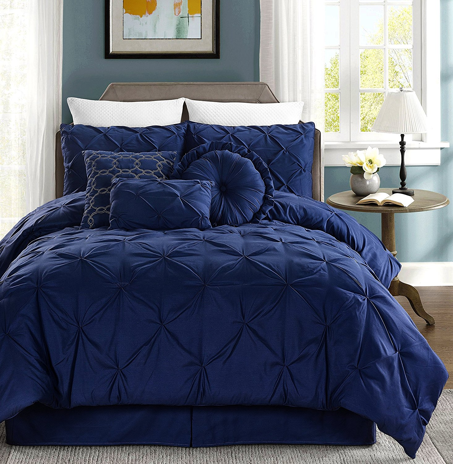 Chezmoi Collection Sydney 7-piece Pintuck Bedding Comforter Set (Full, Navy)