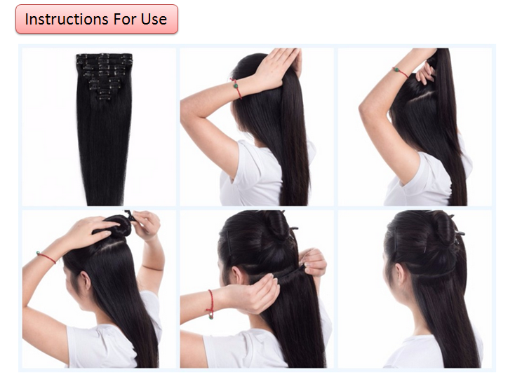 Online shopping next day delivery virgin brazilian hair black color double weft clip in hair extensions full head