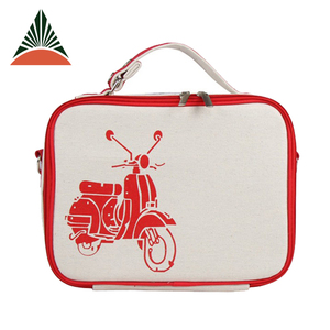 Custom Linen Cotton Canvas Insulated Lunch Box Bag For Ladies