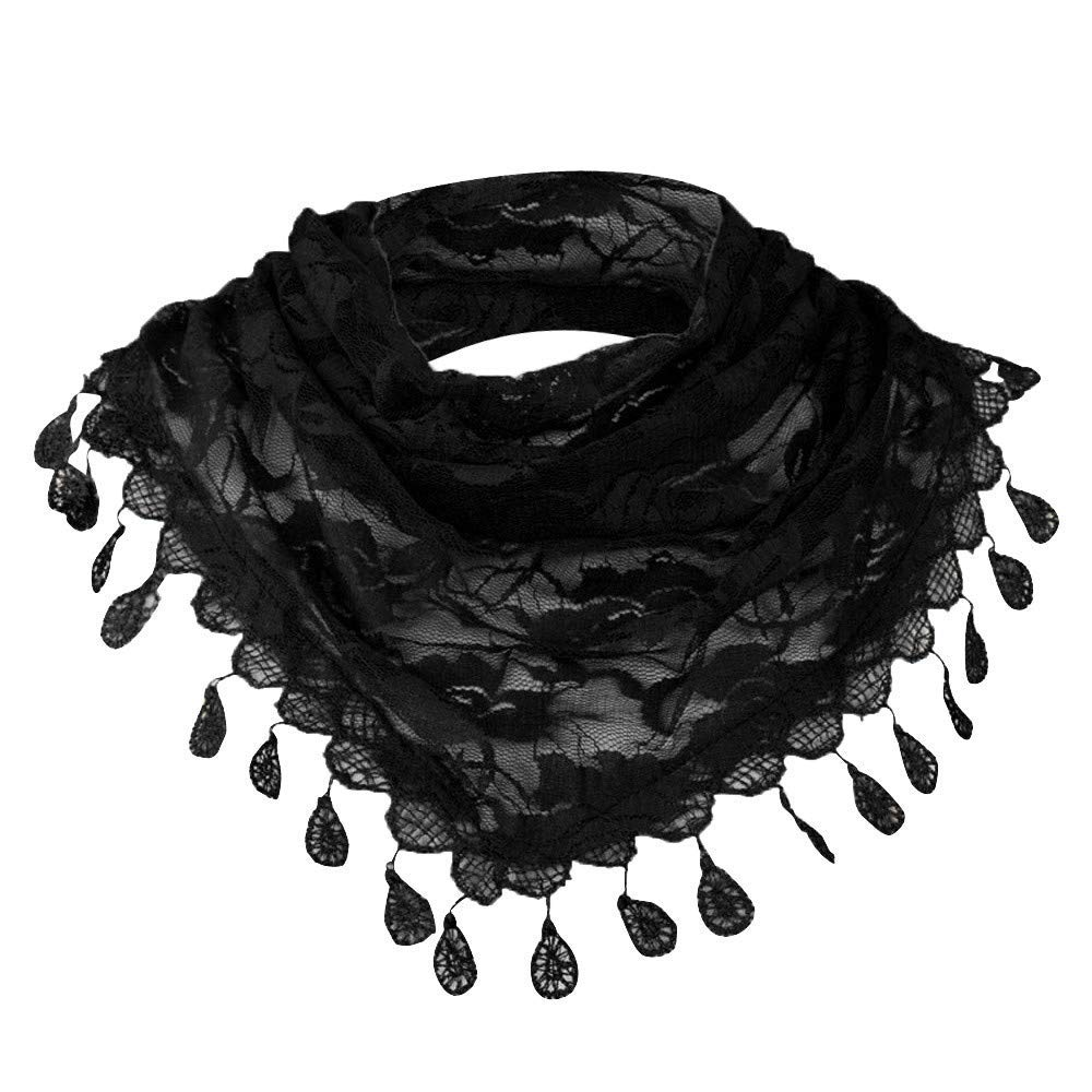Clearance!Women Scarf Soft Solid Neck Scarves Lace Hollow Long Shawl Tassel Winter Wrap Drfoytg
