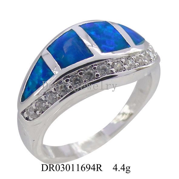 925 Sterling Silver Synthetic Blue Opal Jewellery
