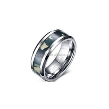 Wholesale Tungsten Carbide Green Camo Inlay Bevel Edge 8mm Width Wedding Engagement Ring Bands For Men